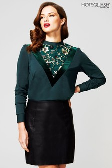 HotSquash Green Sweater Top With Velvet