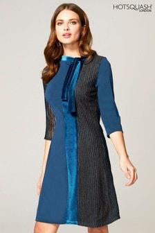 HotSquash Blue Princess Seam Dress With Velvet