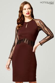 HotSquash Brown Lace Sleeve Keyhole Detail Dress