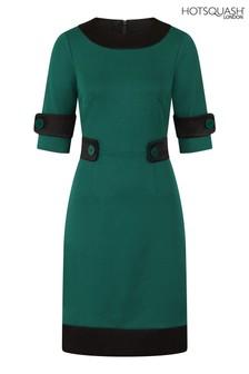 HotSquash Green 60s Dress With Contrast Hem