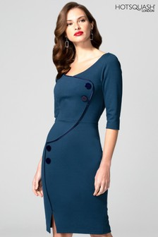 HotSquash Blue Chelsea Dress With Buttons