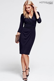 HotSquash Black Ascot Mock Wrap Dress