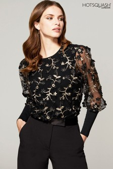 HotSquash Black Blouson Sleeved Embroidered Top
