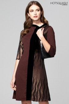 HotSquash Brown Princess Seam Dress With Velvet