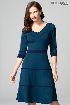 HotSquash Blue V-Neck Dress With Contrast Piping