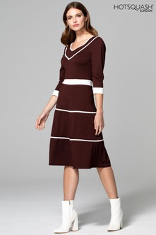 HotSquash Brown V-Neck Dress With Contrast Piping