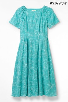 White Stuff Green Ebony Embroidered Dress