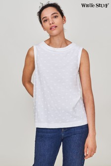 White Stuff White Embroidered Petal Tank Vest
