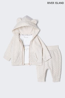 River Island Cream Quilted Sweat And Top Set
