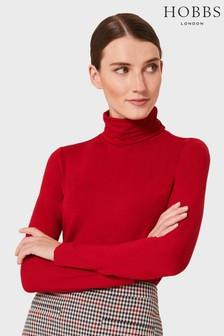 Hobbs Red Mischa Roll Neck Top