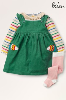 Boden Green Appliqué Pinnie 3 Piece Set