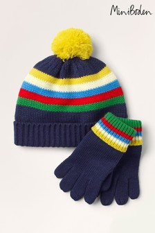 Boden Blue Hat & Gloves Set