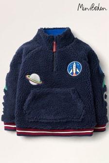 Boden Blue Borg Space Half-Zip Sweatshirt