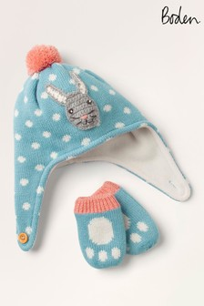 Boden Blue Baby Bunny Hat & Mittens Set