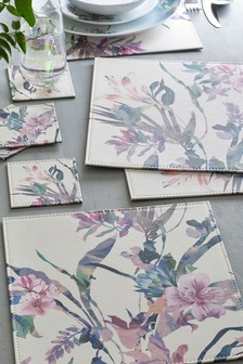 4 Faux Leather Placemats & Coasters Set