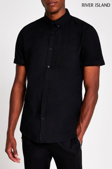 River Island Black Regular Fit Oxford Shirt