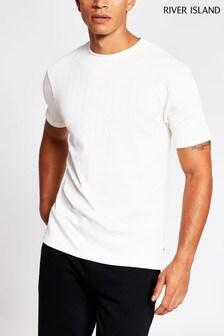 River Island Ecru Slim Chevron Texture T-Shirt