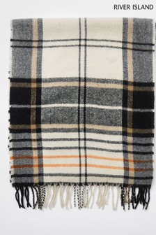 River Island Ecru Neutral Check Scarf