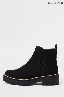 River Island Black Rand Chunky Gusset Boots
