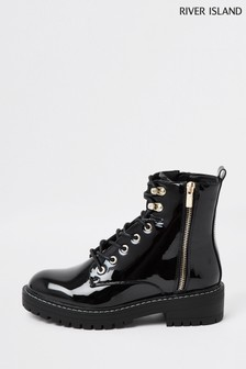 River Island Black Patent Lace-Up Chunky Boots