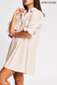 River Island Pink Light Pleat Sleeve Shirt Mini Dress