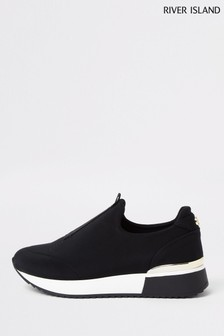 River Island Black Scuba Pull On Runner Trainers