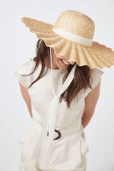 Scalloped Wide Brim Hat