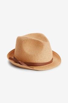 Weave Tie Detail Trilby Hat