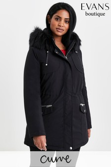 Evans Curve Black Padded Parka Coat