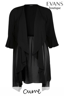 Evans Curve Black Longline Waterfall Jacket