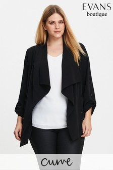 Evans Curve Black Smart Waterfall Jacket