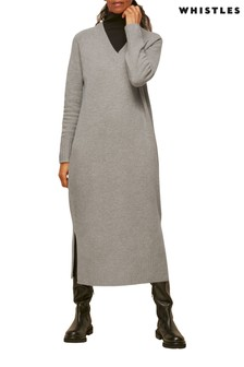 Whistles Grey Marl Longline Knitted Dress