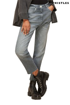 Whistles Grey Slim Leg Frayed Hem Jeans