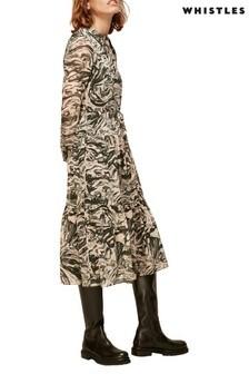 Whistles Multi Print Marble Maxi Tie Around Waist Dress