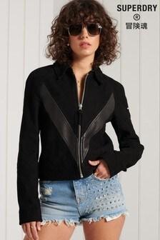 Superdry Black Gig Leather Jacket