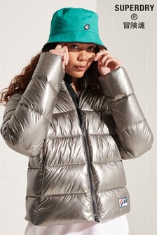 Superdry Silver Cropped Puffer Jacket