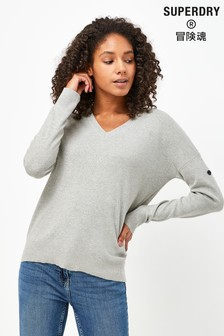 Superdry Marl V-Neck Cotton Jumper