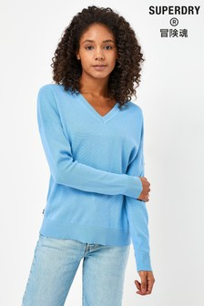 Superdry Blue V-Neck Cotton Jumper