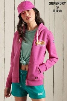 Superdry Pink Vintage Logo Duo Zip Through Hoodie