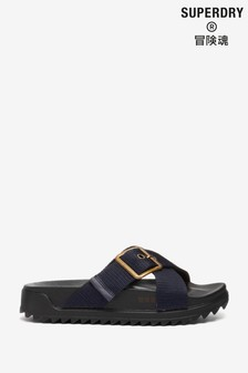 Superdry Navy Square Buckle Sliders