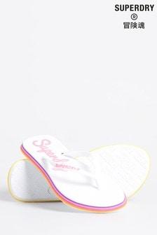Superdry White Neon Rainbow Sleek Flip Flops