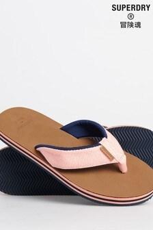 Superdry Pink Surf Leather Flip Flops
