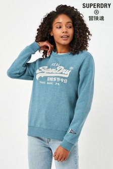 Superdry Blue Chenille Crew Sweat Top