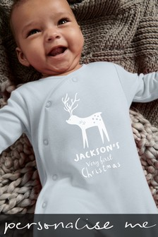 Personalised Reindeer Sleepsuit