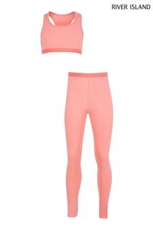 River Island Coral Drenched Crop Top And Leggings