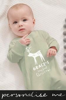 Personalised Reindeer Sleepsuit