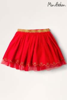 Boden Red Tulle Embroidered Skirt