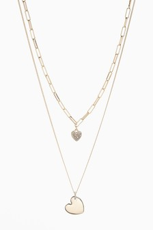 Two Layer Pavé Heart Necklace