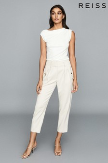 Reiss White Flavia Jersey High Neck Top