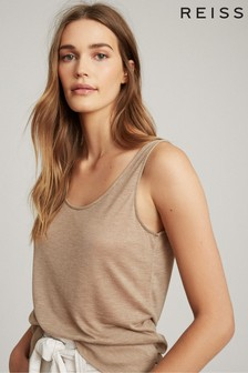 Reiss Neutral Lena Scoop Neck Vest Top